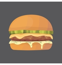 Burger cartoon fast food cheeseburger or vector image vector image