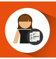 Character woman with paper document file icon vector