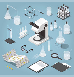chemistry laboratory objects set vector image vector image