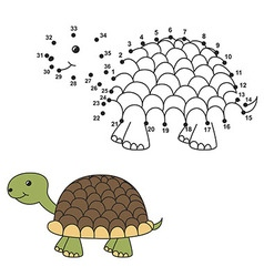 Connect the dots to draw the cute turtle and color vector