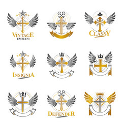 crosses of christianity religion emblems set vector image