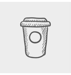 Disposable coffee cup sketch icon vector