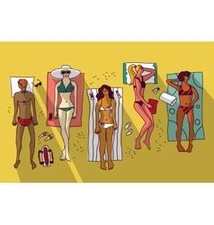 Group women relax beach summer vacation flat vector image