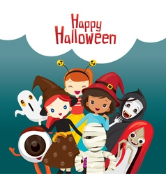 Halloween Ghosts and Children vector image