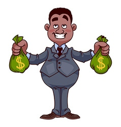 Happy businessman with bags of money vector image vector image