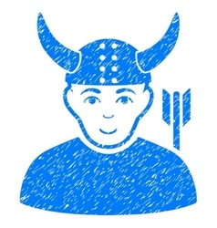 Horned warrior grainy texture icon vector
