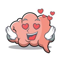 in love brain character cartoon mascot vector image