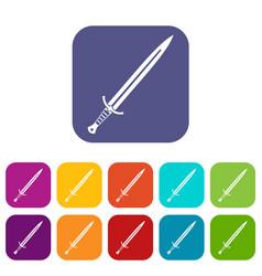 Long sword icons set flat vector