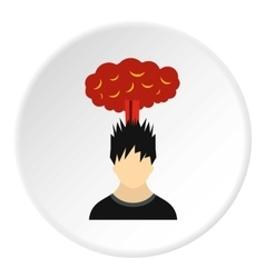 Male avatar and explosion brain icon flat style vector