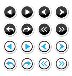 Next previous arrows round icons set vector image vector image
