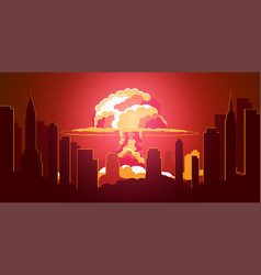 Nuclear explosion cartoon retro poster mushroom vector