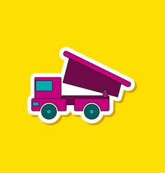 Paper sticker on stylish background kids toy truck vector