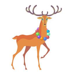 Reindeer christmas icon moving deer vector