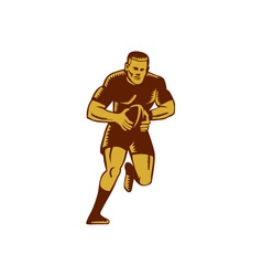 Rugby player running ball woodcut vector