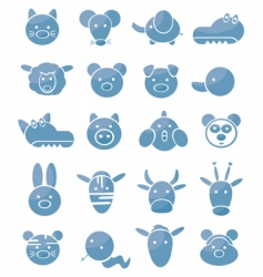 set of icons cute animals vector image vector image
