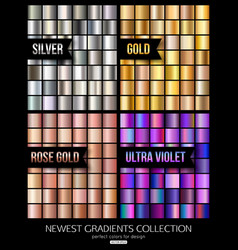 set of ultra violet gold and silver gradient vector image