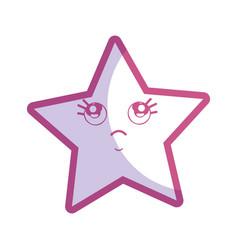 Silhouette kawaii thinking and cute star design vector