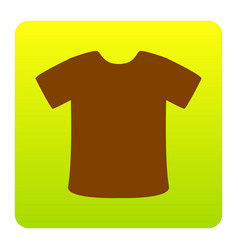 T-shirt sign brown icon at green-yellow vector