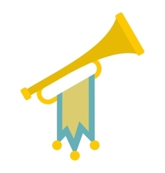 Trumpet with flag icon flat style vector