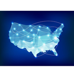 Usa country map polygonal with spot lights places vector
