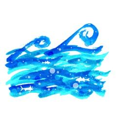 Watercolor sea wave vector