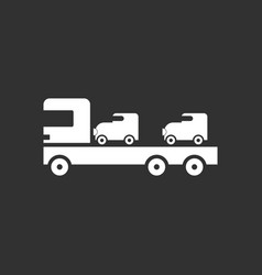 white icon on black background car carrier truck vector image vector image