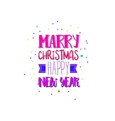 Marry xmas and new year bright colors vector