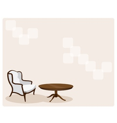 Antique leather armchair in living room background vector