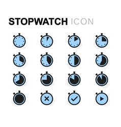 Flat stopwatch icons set vector