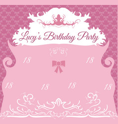 vintage birthday invitation card template vector image