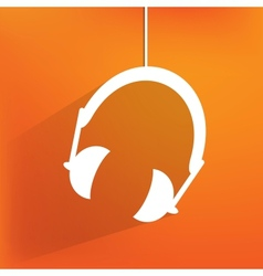 Headphones web icon flat design vector