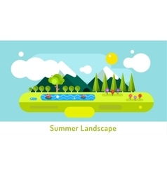 Abstract outdoor summer landscape trees and vector