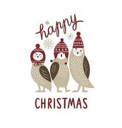 Happy christmas card three cute owls vector