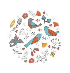 Colorful round composition with birds and flowers vector image