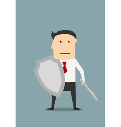 Businessman protects business with weapon vector image