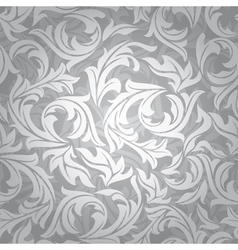 abstract seamless silver floral background vector image