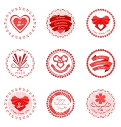 Red valentines day icons vector