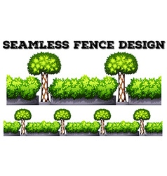 Seamless fence with green bushes vector