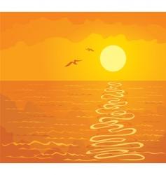 orange sunset over the ocean vector image