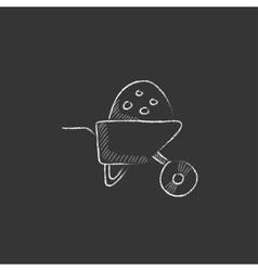 Wheelbarrow full of sand Drawn in chalk icon vector image