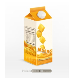Pack of mango juice isolated on white background vector