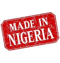 Made in nigeria red square grunge stamp vector