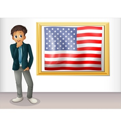 A framed flag of the USA beside a man vector image