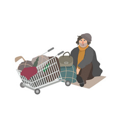 Angry homeless man dressed in shabby clothes vector