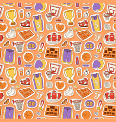 basketball stickers icons seamless pattern vector image vector image