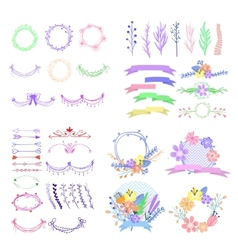 Big set of cute floral design elements vector image