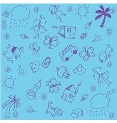 Blue of doodle design for kids vector