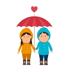 Boy girl umbrella love vector