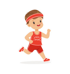 Boy in a red uniform running marathon runner boy vector