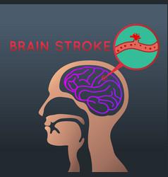 brain stroke icon design logo vector image vector image